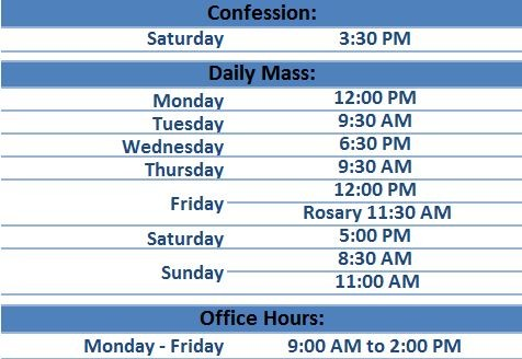 Schedules for Mass and Confession